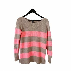 GAP Factory Beige Neon Pink Knit Pullover Sweater